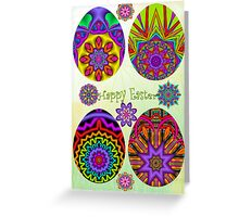 Easter card with Fractal eggs, flowers and Text Greeting Card