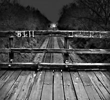 Wooden Bridge Over Tracks by Mark Shearin