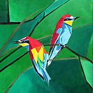 Brightly Colored European Bee-eaters by taiche