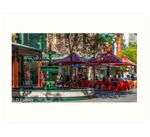 Rundle Mall - Fountain and Cafe Art Print