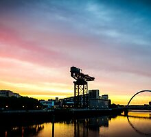 Sunrise over Glasgows clydeside by saabbhoy