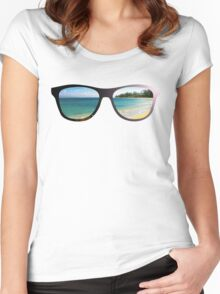 Hipster Beach Scene with Lens Flare Women's Fitted Scoop T-Shirt