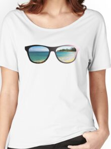 Hipster Beach Scene with Lens Flare Women's Relaxed Fit T-Shirt
