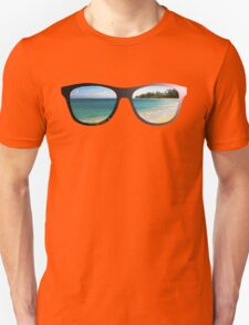 Hipster Beach Scene with Lens Flare Unisex T-Shirt