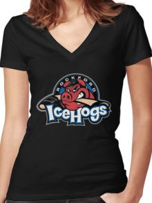 Rockford Ice Hogs Women's Fitted V-Neck T-Shirt