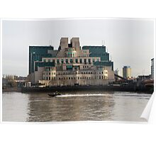 SIS Secret Service Building London And Rib Boat Poster