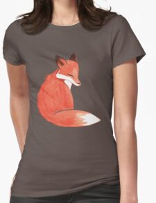 Watercolor Fox Womens Fitted T-Shirt