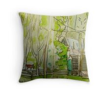 the cutting shed Throw Pillow