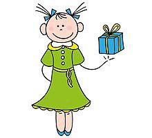 Girl with Gift by Brigitta Frisch