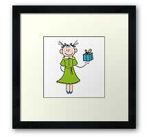 Girl with Gift Framed Print