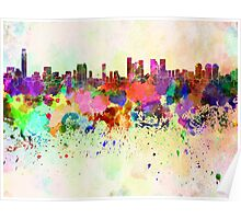 Tel Aviv skyline in watercolor background Poster