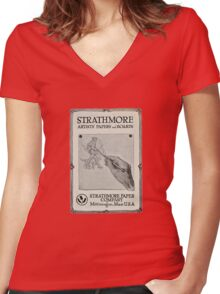 Advertisement for artist's paper 1914 Women's Fitted V-Neck T-Shirt