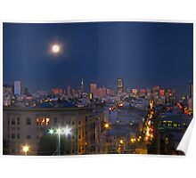 City Lights under the Moon Poster