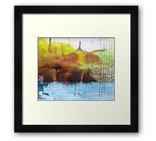 Abstract Ink Landscape with Water, Mountains, Fall Trees Framed Print
