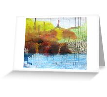 Abstract Ink Landscape with Water, Mountains, Fall Trees Greeting Card