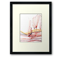 Flowing Abstract Red Lines (Acrylic Ink) Framed Print
