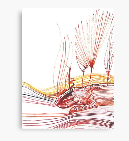 Flowing Abstract Red Lines (Acrylic Ink) Canvas Print