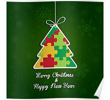 Merry Christmas & Happy New Year - Puzzle Tree Poster