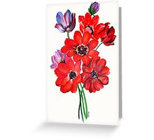 A Posy Of Wild Red And Lilac Anemone Coronaria Greeting Card
