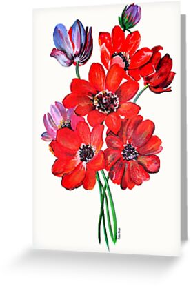 A Posy Of Wild Red And Lilac Anemone Coronaria by taiche