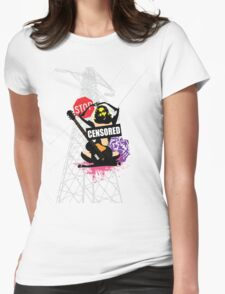Censored Sexy Lady with mixed Street Art Womens Fitted T-Shirt