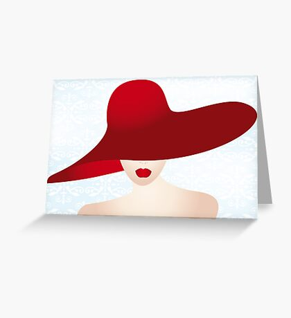 Portrait of the lady with the red hat Greeting Card
