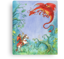 Knights and Dragons Canvas Print