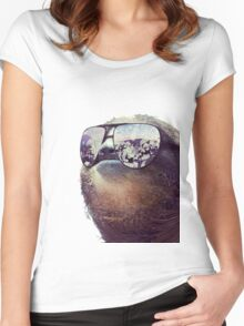 Cashmoney Sloth w/ sunglasses Women's Fitted Scoop T-Shirt