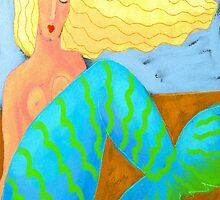 Blonde Mermaid Abstract Digital Painting  by jackieludtke