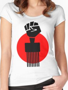 Black Fist Power T-Shirt Women's Fitted Scoop T-Shirt