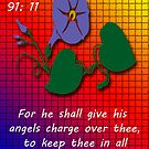 Greeting Card....Psalm 91:11 by Deborah Lazarus