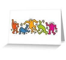 Keith Haring Dancing Figures art Greeting Card