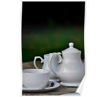 White tea set in the garden Poster
