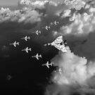 Red Arrows and Avro Vulcan above clouds, B&W version by Gary Eason