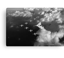 Red Arrows and Avro Vulcan above clouds, B&W version Canvas Print