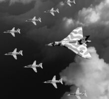 Red Arrows and Avro Vulcan above clouds, B&W version Sticker
