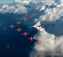 Red Arrows and Avro Vulcan above clouds by Gary Eason + Flight Artworks