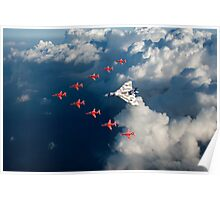 Red Arrows and Avro Vulcan above clouds Poster
