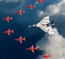 Red Arrows and Avro Vulcan above clouds Sticker