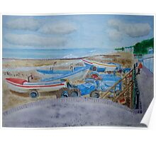 Tractors on Cromer Beach Watercolour Painting Poster