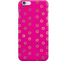 Elegant and Girly Faux Gold Glitter Dots Hot Pink iPhone Case/Skin