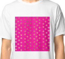 Elegant and Girly Faux Gold Glitter Dots Hot Pink Classic T-Shirt
