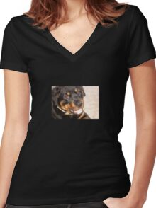 Portrait Of A Gentle Faced Female Rottweiler  Women's Fitted V-Neck T-Shirt