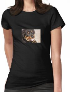 Portrait Of A Gentle Faced Female Rottweiler  Womens Fitted T-Shirt