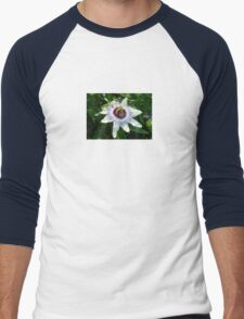Beautiful Passion Flower With Garden Background Men's Baseball ¾ T-Shirt