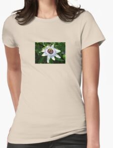 Beautiful Passion Flower With Garden Background Womens Fitted T-Shirt