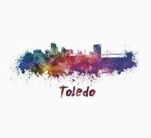 Toledo skyline in watercolor Kids Tee