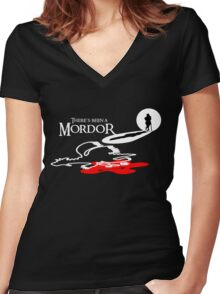 THERE'S BEEN A MORDOR Women's Fitted V-Neck T-Shirt