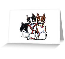 Boston Terrier Walking Buddies Greeting Card