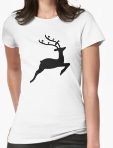 Xmas Reindeer Womens Fitted T-Shirt